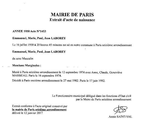 acte de naissance en France